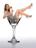 Young Woman in a Martini Glass Royalty Free Stock Photography
