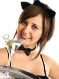 Young woman with martini Stock Images
