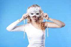 Young woman with a mask Stock Photography