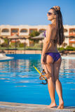 Young woman with a mask  going to snorkeling Royalty Free Stock Photo