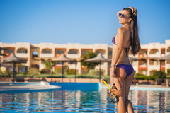 Young woman with a mask  going to snorkeling Royalty Free Stock Images