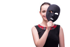 The young woman with mask isolated on white. Young woman with mask isolated on white Royalty Free Stock Photography