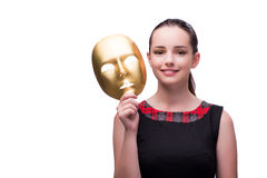 The young woman with mask isolated on white Stock Image