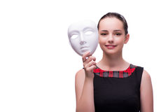 The young woman with mask isolated on white Royalty Free Stock Images