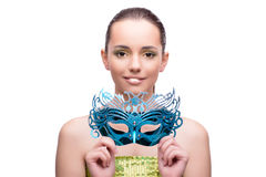 The young woman with mask isolated on white. Young woman with mask isolated on white Stock Image