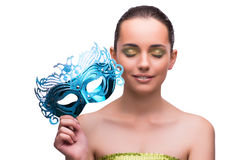 The young woman with mask isolated on white. Young woman with mask isolated on white Royalty Free Stock Photos