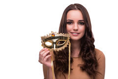 The young woman with mask  on white. Young woman with mask  on white Royalty Free Stock Photo