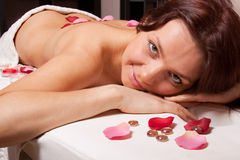 Young woman on massage procedure Stock Photography