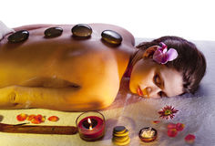 Young woman: massage procedure. Stock Image