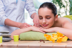 The young woman during massage session Royalty Free Stock Image