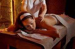 Young woman during massage session Royalty Free Stock Photography