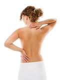 Woman massaging pain back Royalty Free Stock Photography
