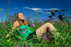 Young woman on a meadow Stock Images