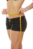Young woman measuring her waist Royalty Free Stock Image