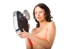 Young woman with measuring scale. Diet and weight, young woman with a scale, she is desperate and threatening Stock Photography