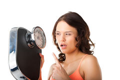 Young woman with measuring scale Royalty Free Stock Images
