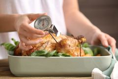 Young woman measuring temperature. Of whole roasted turkey with meat thermometer stock image