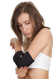 Young woman in medical bandage Stock Images