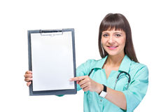 Young woman medical doctor with notebook Stock Photo