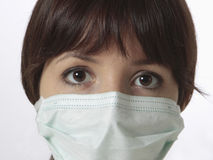 Young woman with medical mask. Portrait of young woman with medical mask Stock Photos