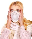 Young woman in medical mask. Sick young woman in medical mask Stock Photography