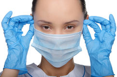 Young woman in medical outfit Stock Images