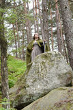 Young woman in medieval attire. In forest Stock Images