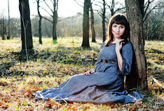 Young woman in medieval dress Royalty Free Stock Images