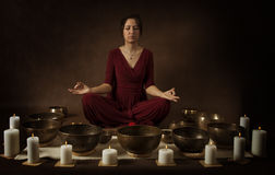 Young woman meditates Royalty Free Stock Image