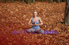 Young woman meditating in autumn forest. Young blond woman in blue t-shirt practicing yoga sitting on the ground in the half-lotus position meditating with Royalty Free Stock Images