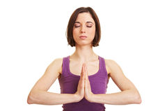 Young woman meditating with hands Stock Image