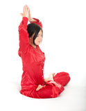 Young woman meditating in lotus position Royalty Free Stock Photos