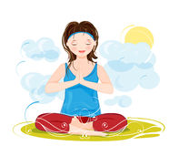 Young woman meditating in lotus position Royalty Free Stock Image