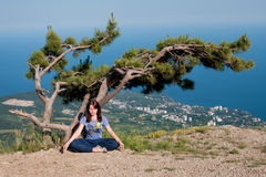 Young woman meditating in lotus position while doing yoga under the tree on the top of the mountain. Travel, Healthy Royalty Free Stock Images