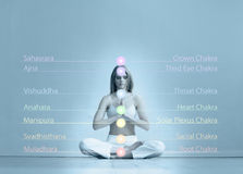 Young woman meditating in a lotus position Stock Images