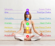 Young woman meditating in a lotus position Royalty Free Stock Image