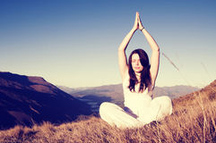 Young Woman Meditating Wilderness Concept Royalty Free Stock Images