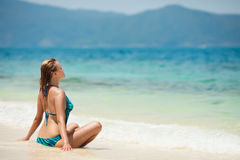 Young Woman Meditation At Tropical Beach. Near the sea Stock Photography