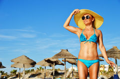 Young woman on the mediterranean beach Royalty Free Stock Photography
