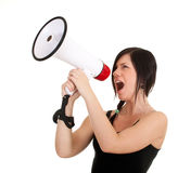 Young woman with megaphone Stock Images
