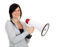 Young woman with megaphone Stock Image