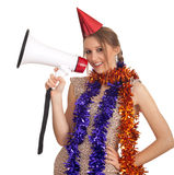 Young woman in megaphone Stock Images