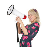 Young woman with megaphone Stock Photos