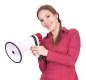 Young woman with megaphone Royalty Free Stock Photography