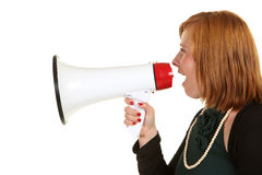 Young woman with megaphone Royalty Free Stock Image
