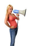 Young Woman With Megaphone Stock Photography