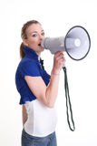Young woman with megaphone or bullhorn Stock Photos