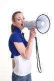 Young woman with megaphone or bullhorn Stock Photos