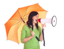 Young woman with megaphone and umbrella Royalty Free Stock Image