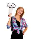 Young woman with megaphone Royalty Free Stock Images